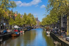 AMSTERDAM NETHERLANDS - APRIL 25, 2017: Central district on Apri Royalty Free Stock Image