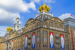 AMSTERDAM, NETHERLANDS - APRIL 30: decorated buildings on occasi Royalty Free Stock Photography