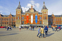 AMSTERDAM, NETHERLANDS - APRIL 30: Decorated central station in Royalty Free Stock Photos
