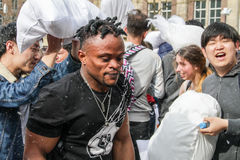 Amsterdam, The Netherlands - April 1, 2016 : International Pillow Fight Day Stock Image