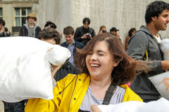 Amsterdam, The Netherlands - April 1, 2016 : International Pillow Fight Day Stock Photography