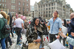Amsterdam, The Netherlands - April 1, 2016 : International Pillow Fight Day Stock Images