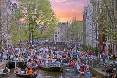 AMSTERDAM, NETHERLANDS - APRIL 30: Kings day on April 30, 2017 i Stock Photos