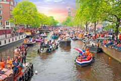 AMSTERDAM, NETHERLANDS - APRIL 27: Kings day on April 27, 2017 i Royalty Free Stock Image