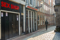 AMSTERDAM, NETHERLANDS - APRIL 22: Man in narrow p Stock Photography