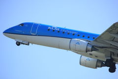 Amsterdam the Netherlands - April 2nd, 2017: PH-EXE KLM Embraer Stock Images