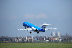 Amsterdam the Netherlands - April 2nd, 2017: PH-KZP KLM Cityhopper. Fokker F70 takeoff from Polderbaan runway, Amsterdam Airport Schiphol Stock Images