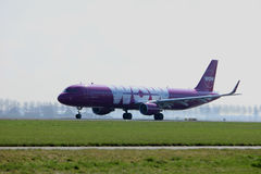 Amsterdam the Netherlands - April 2nd, 2017: TF-GPA WOW. Air Airbus A321-200 takeoff from Polderbaan runway, Amsterdam Airport Schiphol Royalty Free Stock Image