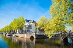 Panoramic city view of Amsterdam with canals, bridges, bicycles and boats. Amsterdam, Netherlands - April 20, 2017: Panoramic city view of Amsterdam with canals Royalty Free Stock Image