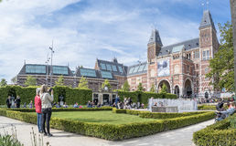 Amsterdam , Netherlands - April 31, 2017 : People enjoying the museum garden Stock Photography