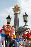 AMSTERDAM, NETHERLANDS - APRIL 30: People in orange celebrating Royalty Free Stock Images