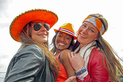 AMSTERDAM, NETHERLANDS - APRIL 30: People in orange celebrating Stock Image