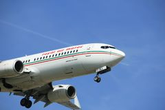 Amsterdam the Netherlands - April, 19th 2018: CN-RNJ Royal Air Maroc Boeing 737-800. On final approach to Schiphol Zwanenburgbaan runway, Amsterdam Airport Royalty Free Stock Image
