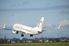 Amsterdam the Netherlands - April 7th, 2017: CN-RNL Royal Air Maroc. Boeing 737 takeoff from Polderbaan runway, Amsterdam Airport Schiphol Stock Images