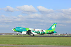 Amsterdam the Netherlands - April 7th, 2017: EI-DEI Aer Lingus. Airbus A320-200 takeoff from Polderbaan runway, Amsterdam Airport Schiphol. Painted in `Irish stock photography