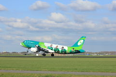 Amsterdam the Netherlands - April 7th, 2017: EI-DEI Aer Lingus. Airbus A320-200 takeoff from Polderbaan runway, Amsterdam Airport Schiphol. Painted in `Irish stock photos