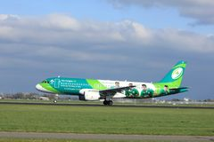 Amsterdam the Netherlands - April 7th, 2017: EI-DEI Aer Lingus. Airbus A320-200 takeoff from Polderbaan runway, Amsterdam Airport Schiphol. Painted in `Irish stock photo