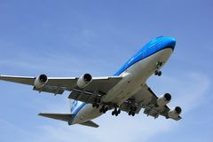 Amsterdam the Netherlands - April, 7th 2018: PH-BFV KLM Boeing 747-400M. Amsterdam the Netherlands - April, 7th 2018: PH-BFV KLM Royal Dutch Airlines Boeing 747 Royalty Free Stock Photography