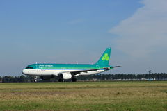 Amsterdam, the Netherlands - August, 18th 2016: EI-DEN Aer Lingus. Airbus A320-214, taking off from Polderbaan Runway Amsterdam Airport Schiphol royalty free stock photography