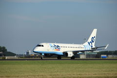 Amsterdam, the Netherlands - August, 18th 2016: G-FBJC Flybe Embraer ERJ-175STD Royalty Free Stock Photography
