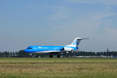 Amsterdam, the Netherlands - August, 18th 2016: PH-KZD KLM Cityhopper. Amsterdam, the Netherlands  - August, 18th 2016: PH-KZD KLM Cityhopper Fokker F70 Royalty Free Stock Photos