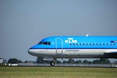 Amsterdam, the Netherlands - August, 18th 2016: PH-KZK KLM Cityhopper. Amsterdam, the Netherlands  - August, 18th 2016: PH-KZK KLM Cityhopper Fokker F70 Royalty Free Stock Photo
