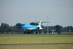Amsterdam, the Netherlands - August, 18th 2016: PH-KZU  KLM Cityhopper. Amsterdam, the Netherlands  - August, 18th 2016: PH-KZU  KLM Cityhopper Fokker F70 Stock Image