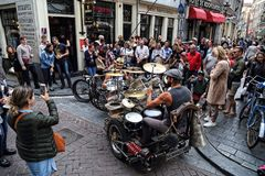 Drum band in Amsterdam, Holland Stock Images