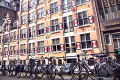 AMSTERDAM; THE NETHERLANDS - AUGUST 19; 2015: View on Oudezijds Royalty Free Stock Image