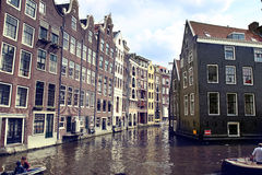 AMSTERDAM, THE NETHERLANDS - AUGUST 19, 2015: View on Oudezijds Stock Photos