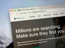 Website of Bing Ads. Amsterdam, the Netherlands - August 30, 2018: Website of Bing Ads, a service that provides pay per click advertising on both the Bing and royalty free stock photos