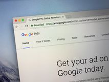 Website of Google Ads. Amsterdam, the Netherlands - August 30, 2018: Website of Google Ads, an online advertising service by Google royalty free stock photography