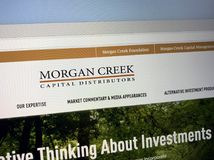 Homepage of Morgan Creek. Amsterdam, the Netherlands - August 28, 2018: Website of Morgan Creek, a investment company royalty free stock images