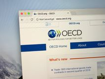Website The Organisation for Economic Co-operation and Development OECD. Amsterdam, the Netherlands - August 30, 2018: Website The Organisation for Economic Co stock photos