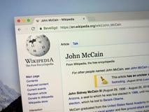 Wikipedia page about John McCain royalty free stock photography