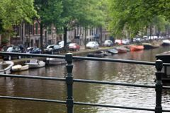 Amsterdam, The Netherlands, city canals, boats, bridges and streets. Unique beautiful and wild European city. Red light district, erotic city. Bicycles vintage Stock Photo