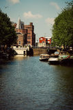 Amsterdam, Netherlands. City centre in Amsterdam with bikes and channels, Netherlands Royalty Free Stock Photography