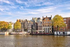 Amsterdam Netherlands city skyline at canal royalty free stock photo