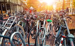 Amsterdam, Netherlands. Cycling parking streets at channel royalty free stock photography
