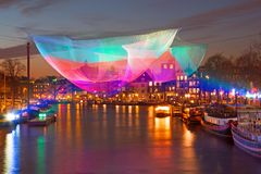 Amsterdam light festival on the river Amstel in Amsterdam Netherlands  Stock Photo