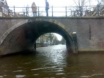 AMSTERDAM, NETHERLANDS - DECEMBER 25, 2007: Architecture and people on the streets city. AMSTERDAM, NETHERLANDS - DECEMBER 25, 2007: Architecture and people on royalty free stock photo