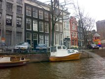 AMSTERDAM, NETHERLANDS - DECEMBER 25, 2007: Architecture and people on the streets city. AMSTERDAM, NETHERLANDS - DECEMBER 25, 2007: Architecture and people on royalty free stock image