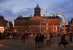 AMSTERDAM, NETHERLANDS - DECEMBER 5, 2015: Dam Square by night o Stock Photo