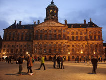 AMSTERDAM, NETHERLANDS - DECEMBER 5, 2015: Dam Square by night o stock photography