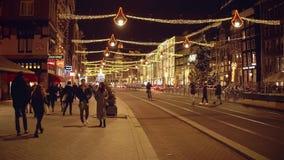 AMSTERDAM, NETHERLANDS - DECEMBER 28, 2017. Decorated major street Rokin at night. AMSTERDAM, NETHERLANDS - DECEMBER 28 2017 Decorated major street stock video footage