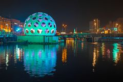 AMSTERDAM, NETHERLANDS - DECEMBER 26, 2013: Light festival in Am. Sterdam the Netherlands by night Royalty Free Stock Photography