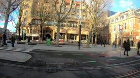 Amsterdam, Netherlands, December 2018. People bwalking on the street. December 2018 stock video footage