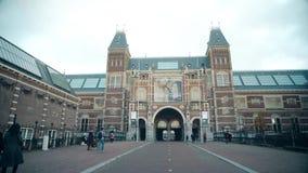 AMSTERDAM, NETHERLANDS - DECEMBER 25, 2017. The Rijksmuseum or Dutch national museum building. AMSTERDAM, NETHERLANDS - DECEMBER 25, 2017. The Rijksmuseum or stock video footage