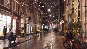 Amsterdam, Netherlands - December 2018. Time lapse of the Christmas street.  stock video