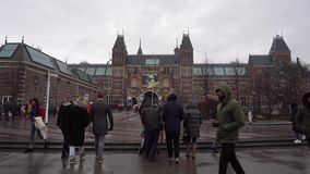 Amsterdam, Netherlands. December 2018. timelapse movement of people in front of the Museum.  stock video footage